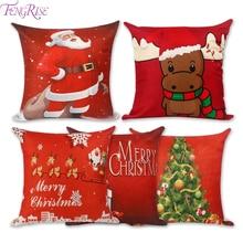FENGRISE Merry Christmas украшение для дома Санта Клаус Подушка с оленем чехол Рождество Рождество Navidad счастливый год