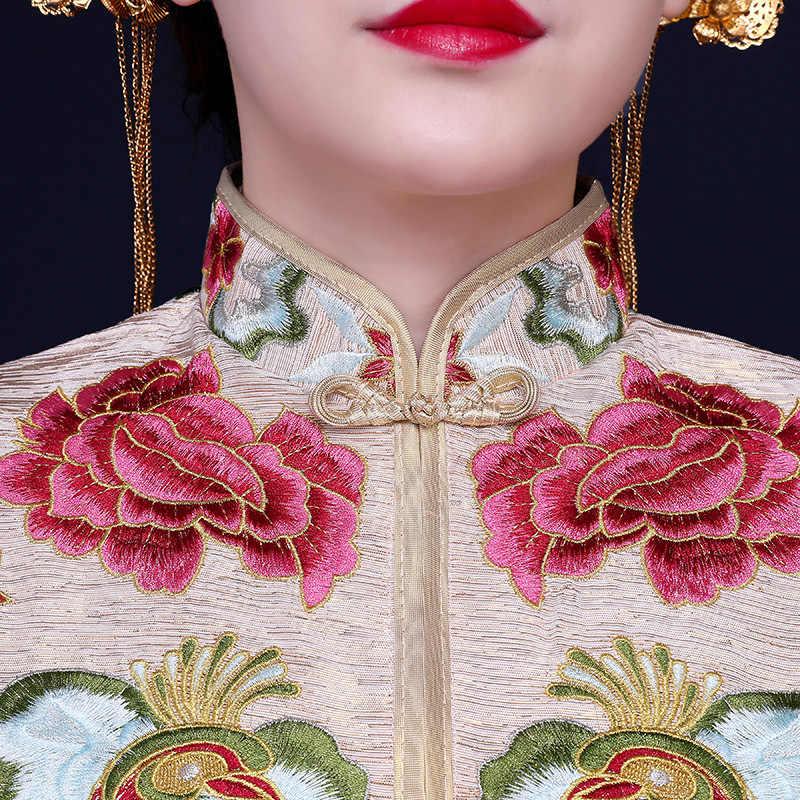 Высокое качество ручного ткачества бежевый Весна Cheongsam торжественное платье для зарубежных китайцев Для женщин пикантные длинные Ци Пао Восточный наряд невесты