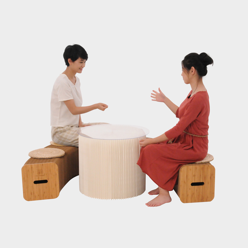 Modernt vardagsrum tebord Enkelt soffa hörn litet runt bord Sofabord - Möbel - Foto 5