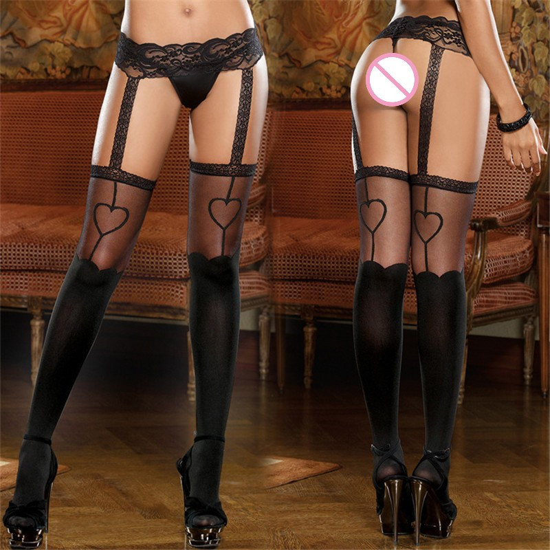 Women Sexy Lingerie Garter Belt Stockings Sexy Hot Erotic Lace Tops Over The Knee Stockings With