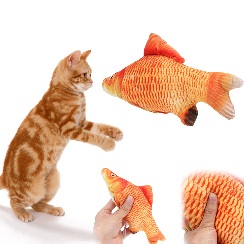 41cm-60cm size Pet Cat Mint Interactive Cat Toys Play Chewing Rattle Scratch Catch Vivid Fish Shape