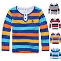 Высокое качество детская одежда мальчики девочки одежда дети футболка весна осень полосатый хлопка с длинным рукавом рубашки
