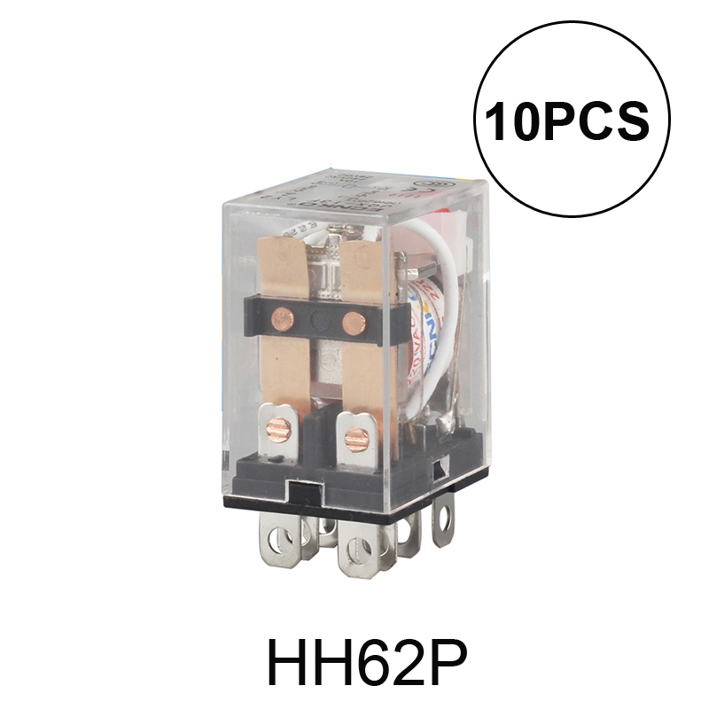 цена на 10pcs/Lot Coil Power Relay LY2NJ DC12V/DC24V/AC110V Miniature Relay DPDT 2NO 2NC 8 Pins 10A 240VAC LY2N-J HH62P LY2 JQX-13F