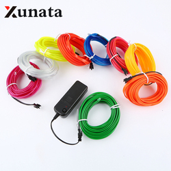 Sewable EL Wire Tron led tape Glow Wire light  Easy Sew Tag Strip tube 1m/3m/5m + 3V Battery case inverter