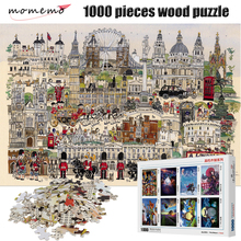 MOMEMO Cartoon London Puzzle 1000 Pieces Jigsaw Puzzles for Adults Wooden High Definition Children Gifts