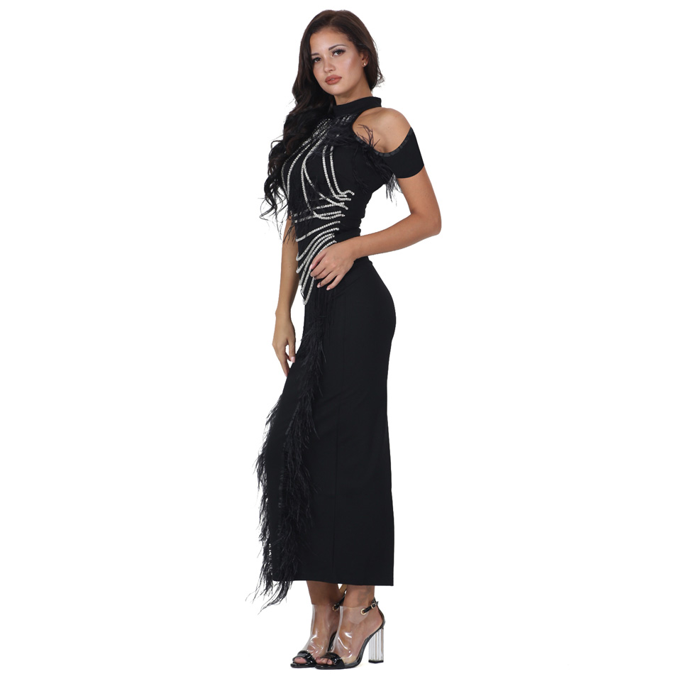 8a5eaa165ef S Curve Feathered Evening Gown Off Shoulder Short Sleeve Beaded Chain  Tassel Back Slit Long Maxi Dress-in Dresses from Women s Clothing on  Aliexpress.com ...