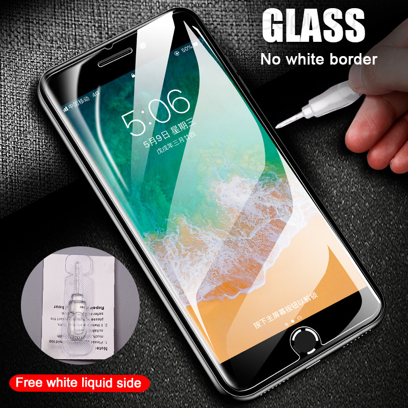 Image 3 - 3Pcs Full Cover Glass on the For  iPhone X XS Max XR Tempered Glass For iPhone 7 8 6 6s Plus 5 5S SE Screen Protector Film-in Phone Screen Protectors from Cellphones & Telecommunications