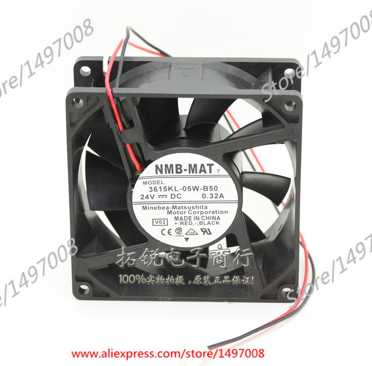 Free Shipping For NMB 3615KL-05W-B50, V02  DC 24V 0.32A 2-wire 2-pin connector 90mm 90X90X38mm Server Square fan genuine spare parts abb acs800 90 90 38mm 24v 0 32a 2 line waterproof fan pq1 3615 kl 05w b50