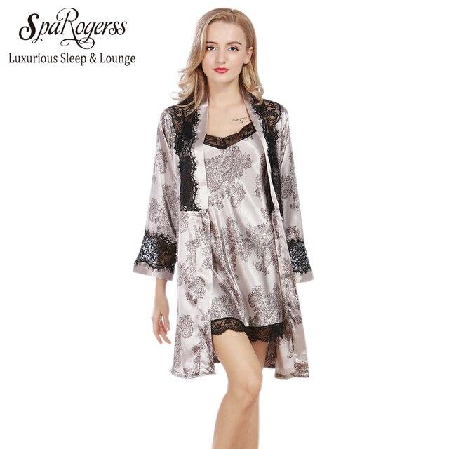 SpaRogerss Luxurious Lady Robe Gown Set 2017 Brand Design Lace Women Faux  Silk Pijama Female Bath 3a7a2a067