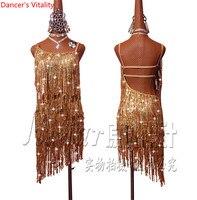 2018 נשים באיכות גבוהה חדשה ריקוד לטיני חצאית ריקוד לטיני תחרות שמלת שוליים נצנצים זהב למכירה