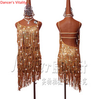 2018 High Quality Women New Gold Glitter Fringe Dress Competition Latin Dance Skirt Latin Dance For