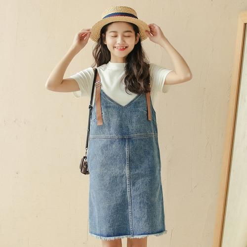 3ba0b23b5c0 Summer Dress 2018 Korean Style Vintage Ripped Tassel V Neck Spaghetti Strap Denim  Dress Jeans Blue Black vestidos de festa 1339