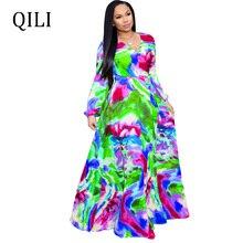 QILI Plus Size Dress For Women Boho Chiffon Print Long Sleeve Loose Dresses With Belted Long Maxi Dress Elegant Lady Casual Wear casual long sleeve geometric print plus size dress for women