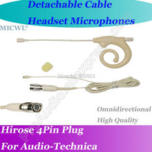 MICWL T43 Detachable Cable Head Headset Microphone for Audio-Technica Wireless Hirose 4Pin connector micwl me3 head worn condenser headset microphone for audio technica wireless beltpack system hirose 4pin connector