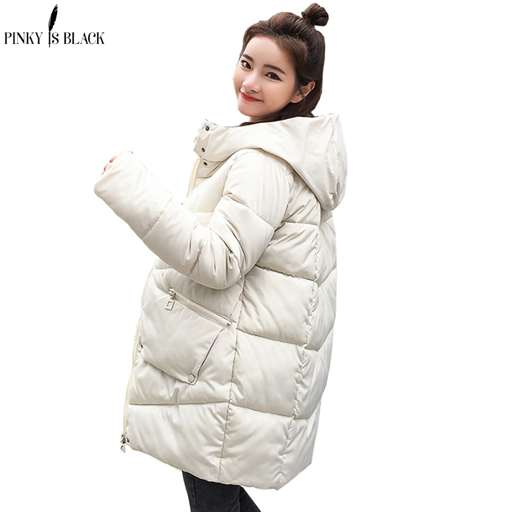 PinkyIsBlack Snow Wear 2018 Women Winter Jacket   Parkas   Female Warm Thicken Middle-Long Slim Cotton Padded Hooded Jacket Coat