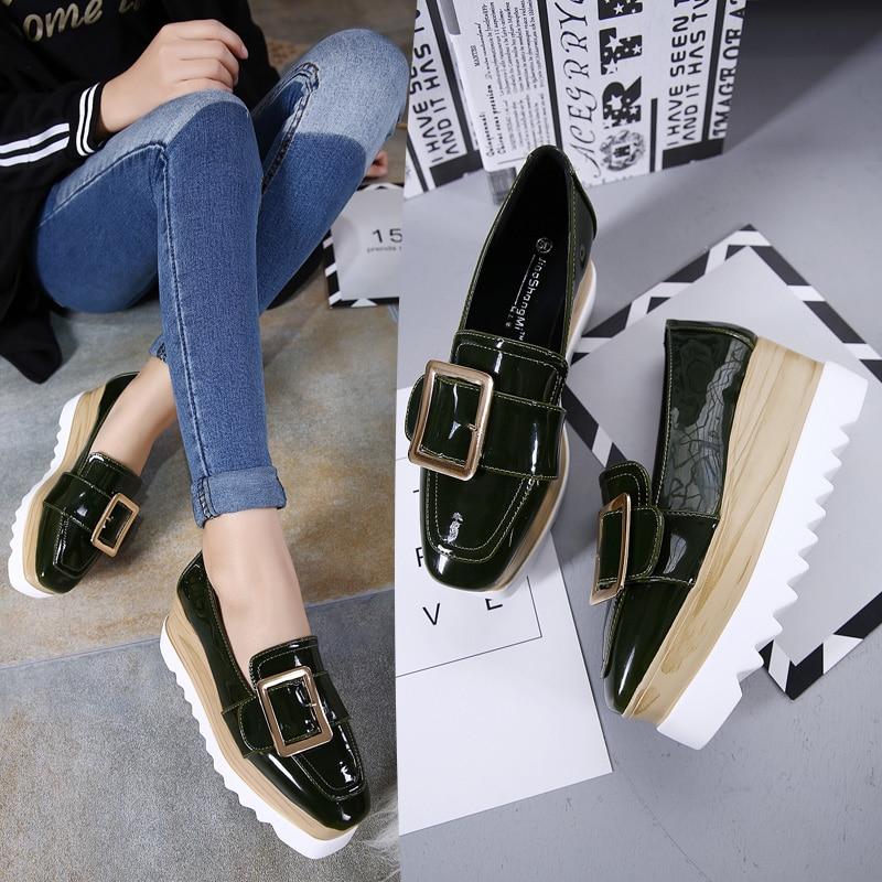 Femme Marque De Automne Cuir blue Noir Femmes Baskets Mode Creepers Slip Green brown En on À Boucle Oxford Plateforme Hiver Chaussures w1g0EqnF