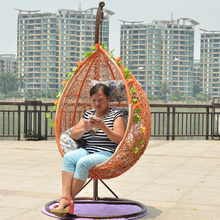Wicker chair single double hanging basket rocking swing outdoor indoor leisure lounger terrace hammock