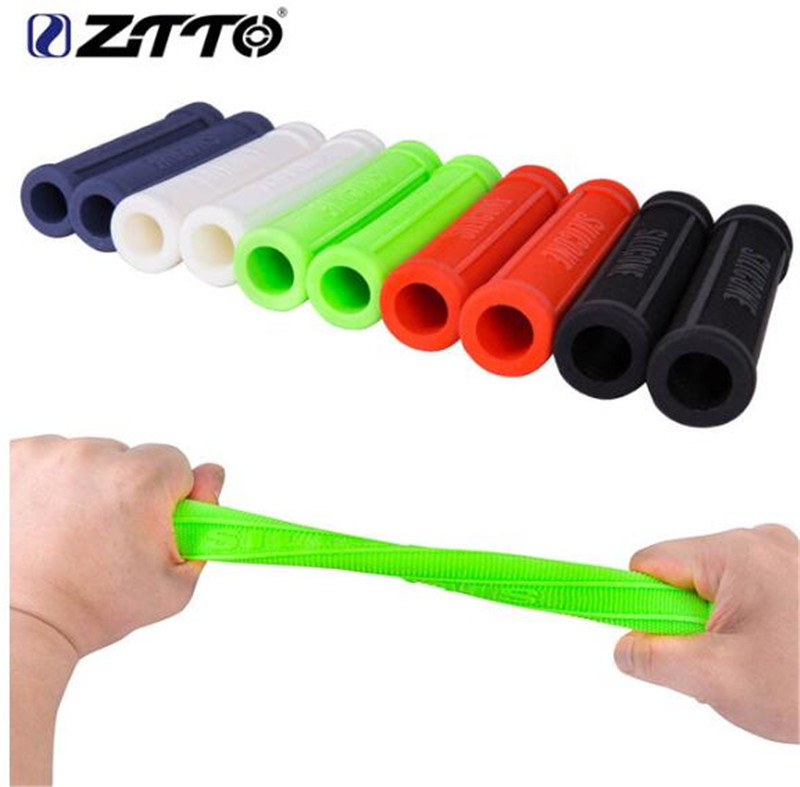 ZTTO Pure Silicone Gel Durable Shock Proof Anti Slip Grips For MTB Mountain Bike Road Bicycle Fixed Gear BMX With Bar Plug in Bicycle Grips from Sports Entertainment