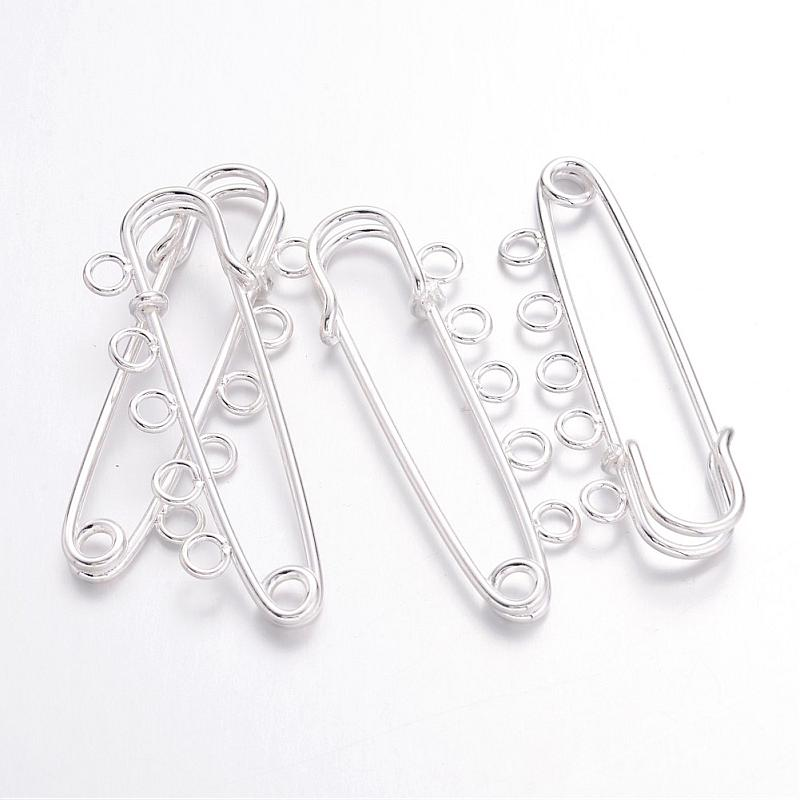 5pcs Iron Kilt Pins Brooch Findings Silver 16x50mm Fit Craft DIY Findings Accessories Supplies ( about 0.62x1.96)