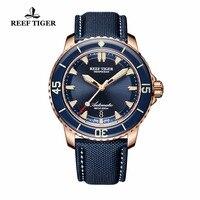 שונית טייגר/RT סופר צלילה שעונים לגברים רוז זהב הכחול חיוג זוהר שעונים אנלוגיים שעונים אוטומטיים RGA3035
