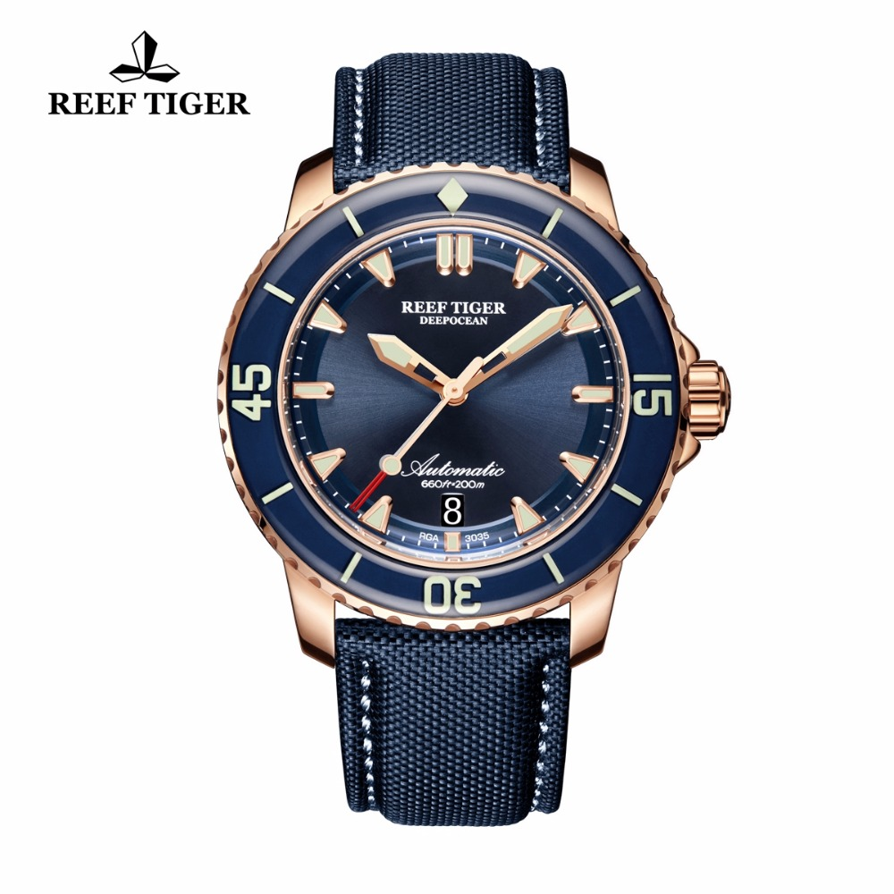 Reef Tiger/RT Super Luminous Dive Watches for Men Rose Gold Blue Dial Watches Analog Automatic Watches RGA3035 reef tiger rt super luminous dive watches for men rose gold blue dial watches analog automatic watches rga3035