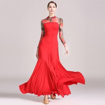 Ballroom Dance Dress Milk Silk Printed Long Sleeve Waltz Modern Tango Flamenco Standard Ballroom Dance Clothes Women DNV10180