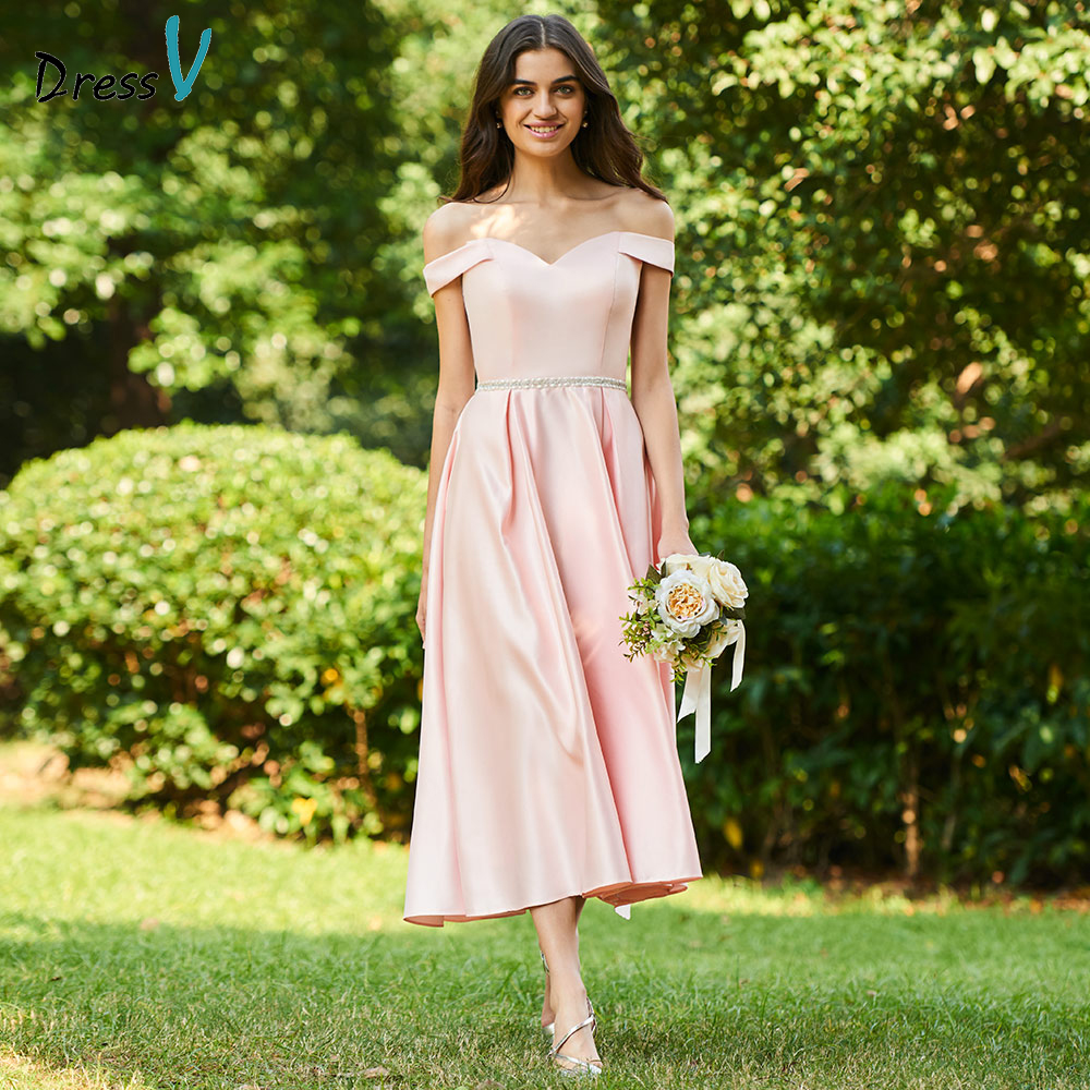 Dressv pink sample a line bridesmaid dress off the shoulder zipper up wedding party women tea length bridesmaid dress