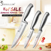 3 Pcs Hammer Pattern Blade Stainless Steel Knife Set SOWOLL Kitchen Knive Toothed Utility Santoku Chef Knife For 5, 7, 8 inch