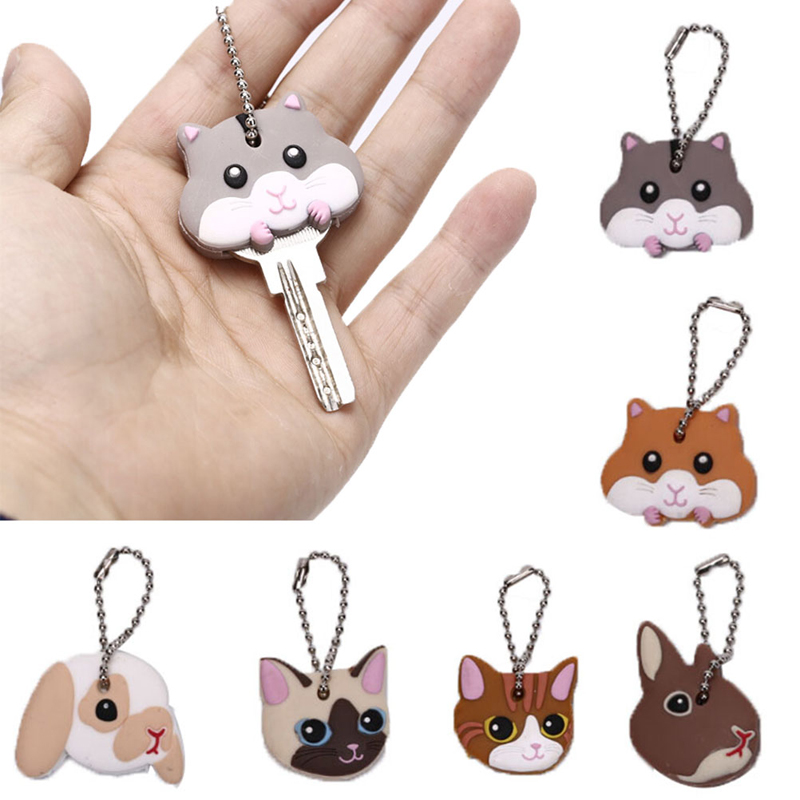 Lovely Animals Shape Key Ring Silicone Cap Head Cover Key Case Shell Keychain Jewelry Gift