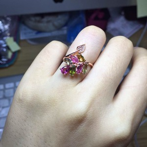 Image 3 - [MeiBaPJธรรมชาติทัวร์มาลีนอัญมณีแฟชั่นที่มีสีสันหินแหวนสำหรับสตรีจริง 925 เงินสเตอร์ลิงCharmเครื่องประดับFine