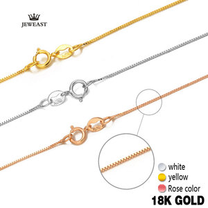 Image 1 - 18k Pure Gold Necklace Rose White Yellow Genuine Women Fine Simple Slim Thin Chains Hot Sale Matched For Any Pendant trendy new