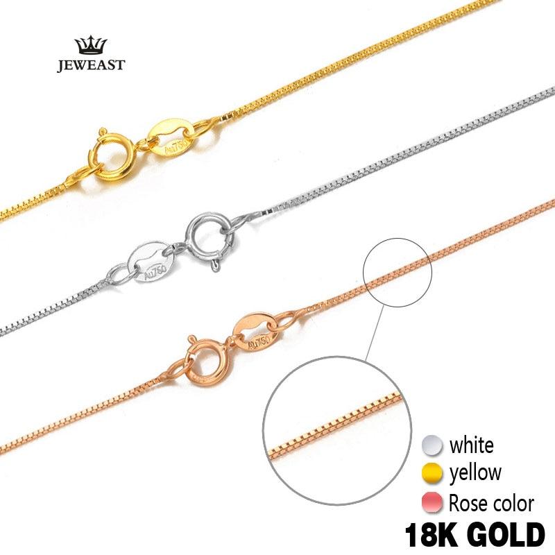 Collar de oro puro de 18 k, rosa, blanco, amarillo, genuino, fino, Simple, Delgado, en oferta, compatible con cualquier colgante de moda nuevo