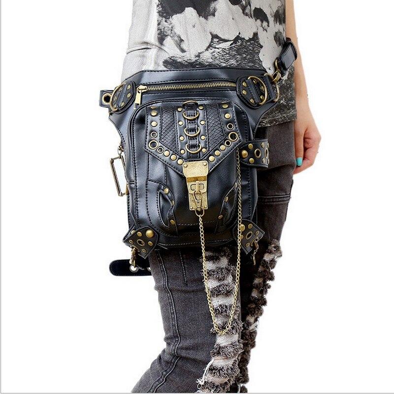 Sac de taille exclusif rétro Rock gothique sac Packs sac à bandoulière Vintage hommes femmes en cuir sac de jambe