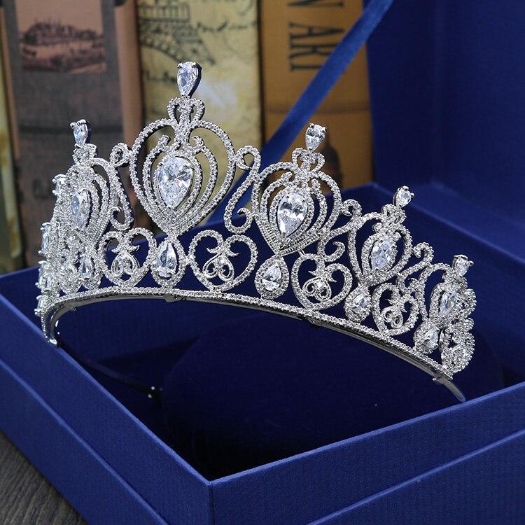 HIBRIDE kobiety Brial duża korona jasne cyrkonia biały złoty kolor tiara akcesoria do włosów komunikat biżuteria C 10 w Biżuteria do włosów od Biżuteria i akcesoria na  Grupa 3