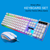 Wired Gaming Mouse Keyboard Set with RGB LED Backlight Keyboard Mouse Combo for Gamer 104 Keys Black /White