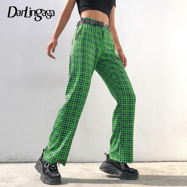 Darlingaga Fashion Green Checkered Harajuku Pants Women Straight Trousers High Waist Plaid Pants Autumn Baggy Pantalones Bottom