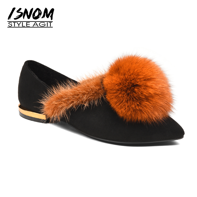ISNOM 2018 Spring Fox Fur Shoes Woman Fashion Cow Suede Women Flats Pointy Casual Shoes Female Short Plush Footwear Leather vesonal brand faux fur women shoes flats 2017 winter warm velvet female fashion ladies woman sneakers casual footwear tsj 189