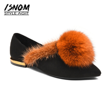 ISNOM 2018 Spring Fox Fur Shoes Woman Fashion Cow Suede Women Flats Pointy Casual Shoes Female Short Plush Footwear Leather