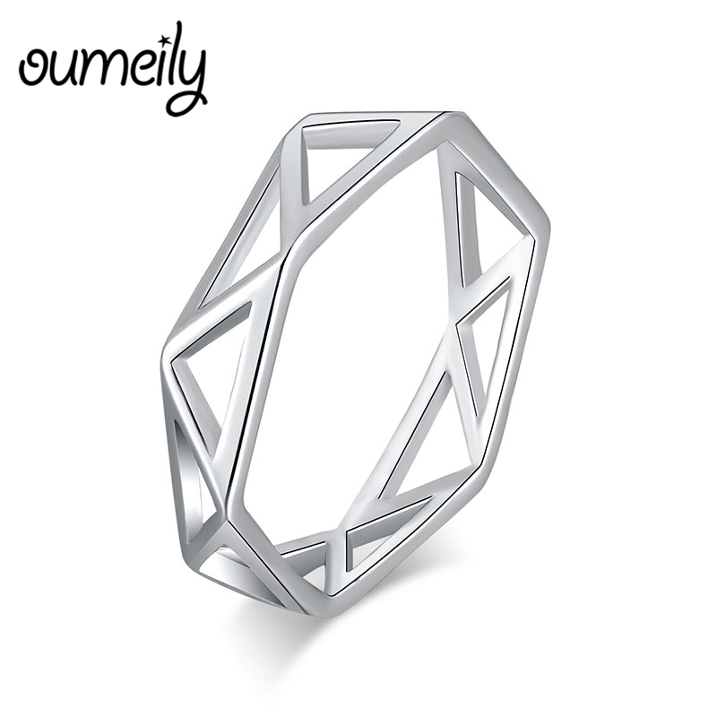 OUMEILY Rings 100% Real 925 Sterling Silver Ring Hexagon Triangle Wedding Engagement Rings Jewelry For Women and Men Female Ring