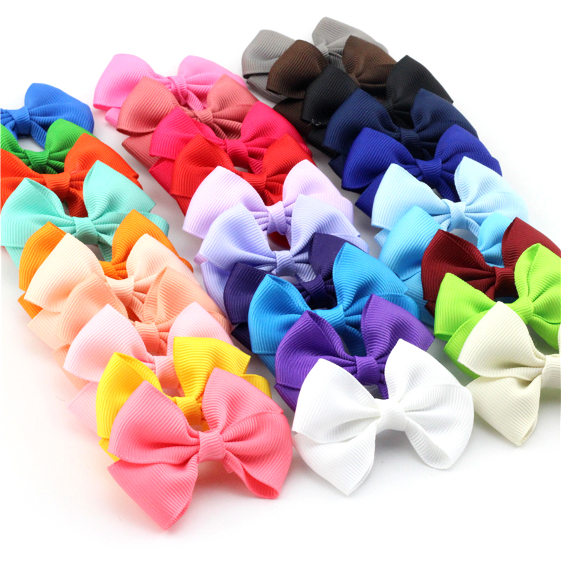 Pick 10pcs Girls Ribbow Bow Hair Clip Solid Small Barrettes Girls Hair Accessories Kids Bowknot Hairpins Hair Bows For Girls