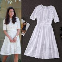100%Cotton!Top Quality New British Fashion Collection 2018 Style Autumn Dress Women Hollow Out Embroidery Mid Calf Cotton Dress