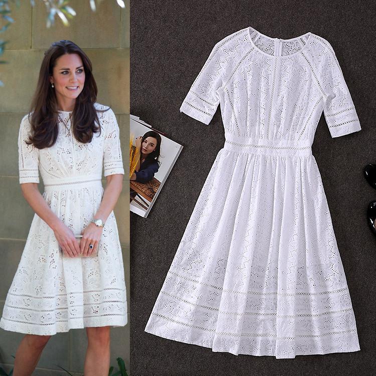 100% coton! Top qualité nouvelle Collection de mode britannique 2019 Style automne robe femmes évider broderie mi-mollet coton robe
