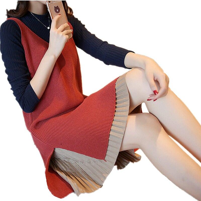 Automne femmes tricoté gilet deux costume ensemble Long nouveau mousseline de soie couture pull robe de haute qualité chaud hiver avec ceinture MZ1906