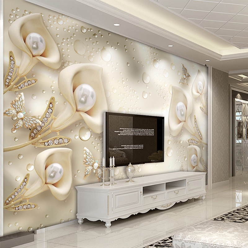 Custom Photo Wallpaper Sticker 3d Jewelry Flower Butterfly Water Drops Living Room Tv Background Mural Papel De Parede Floral 3d