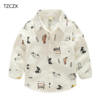 TZCZX-9035 مولود جديد الفتيان الأطفال الأزياء الكرتون سيارة الطباعة القطن قميص بأكمام الكامل ل 2-8 سنة الاطفال ارتداء