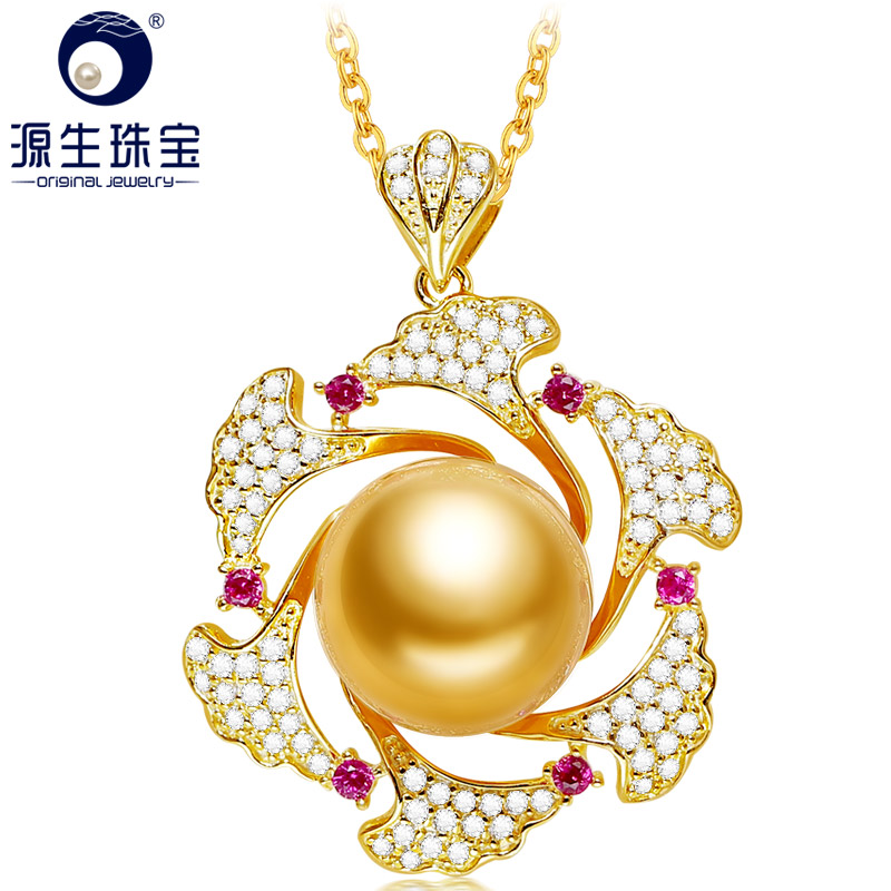 YS 10-11mm Natural Round Golden South Sea Pearl Silver Pendant Necklace Fine Jewelry For Women цена 2017