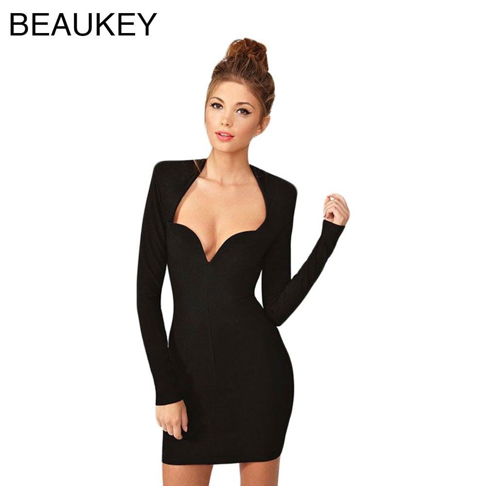 Robes Femmes Bandage V Nouvelle Noir Manches 2015 Longues Cou À Mode Profonde Sexy Moulante Rayonne 4jqARL35