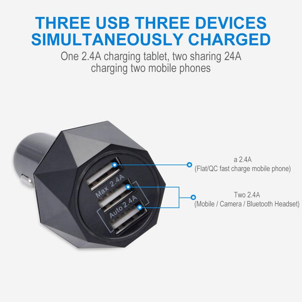 Автомобильное зарядное устройство 3USB автомобильное быстрое зарядное устройство авто зарядное устройство телефон адаптер смарт-панель gps навигатор