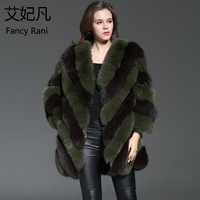 New Noble Real Fox Fur Coat Women Fashion Genuine Fur Green Long Jackets Winter Thick Warm Coat 100% Natural Blue Fox Fur Coats