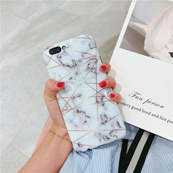 For Case IPhone Marble Geometric Back Cover Polish Stitching Geometry Imd Marble Stone Gel Case For IPhone 6S X 7 8Plus Fundas 6